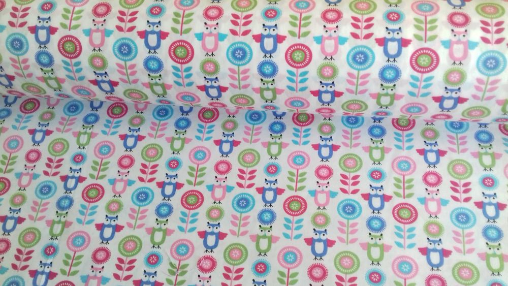 Owls & Flowers Pink Aqua by Rose & Hubble 100% Cotton