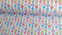 Owls & Flowers Pink Aqua by Rose & Hubble 100% Cotton