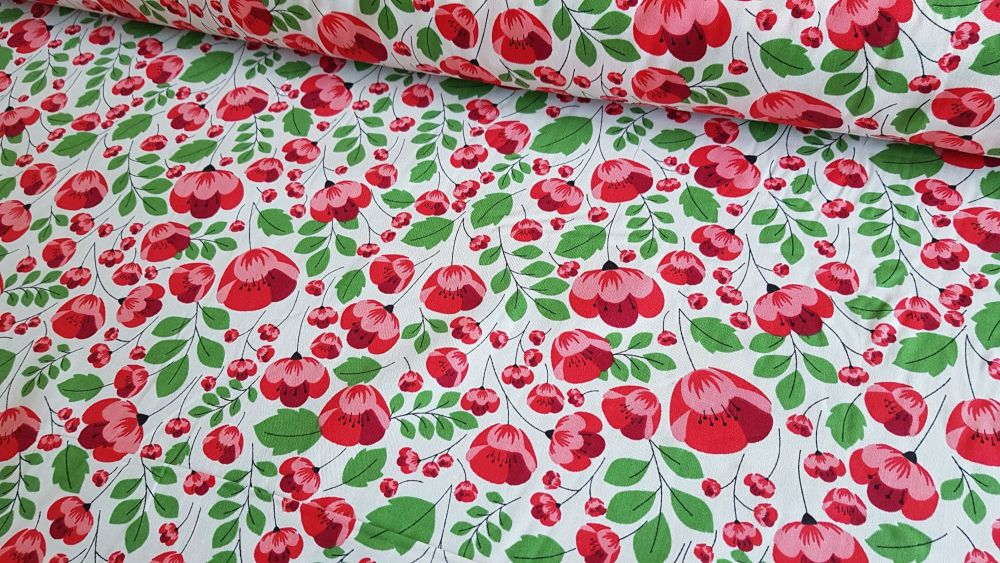 Gabriella Floral on Ivory by Rose & Hubble 100% Cotton