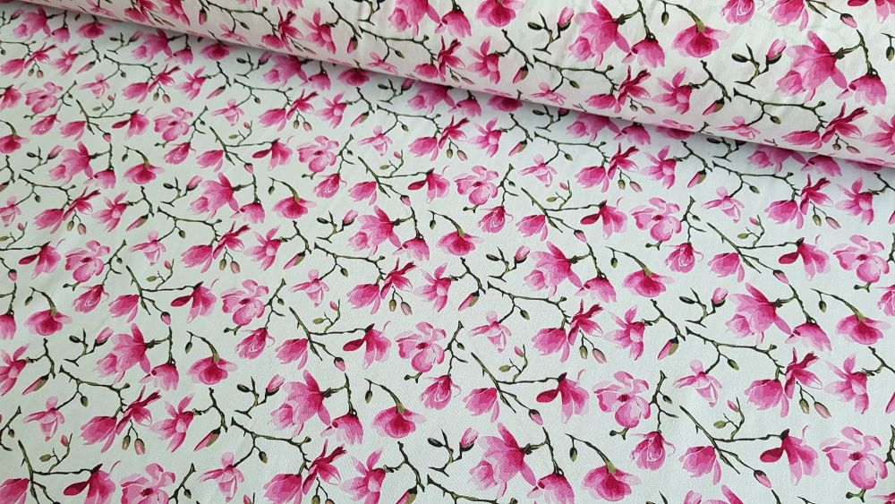 Megan Floral on Ivory by Rose & Hubble 100% Cotton