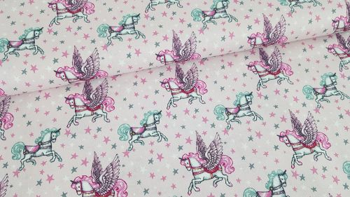 Fairytale Unicorn on Pink by Poppy Europe 100% Cotton Extra Wide