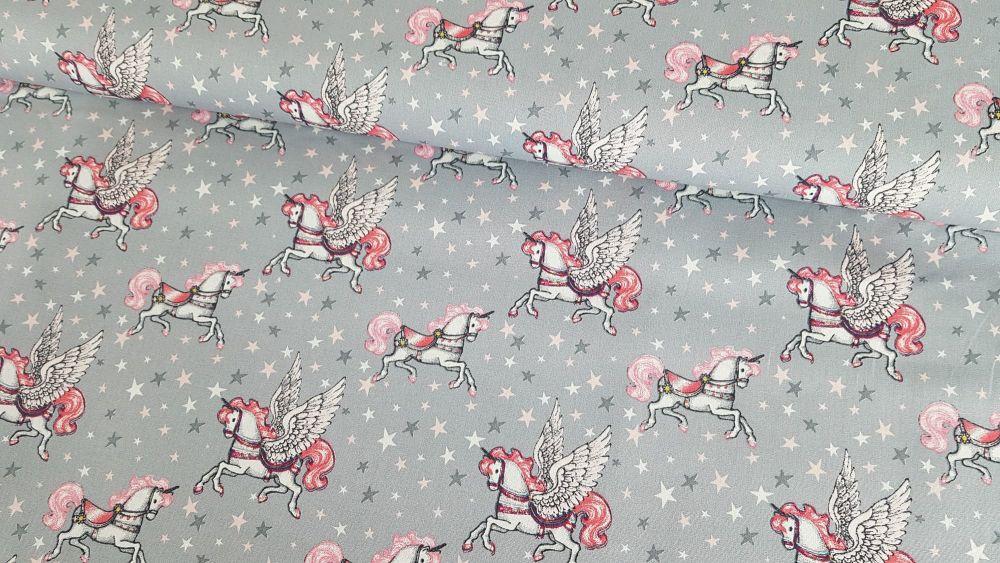 Fairytale Unicorn on Grey by Poppy Europe 100% Cotton Extra Wide