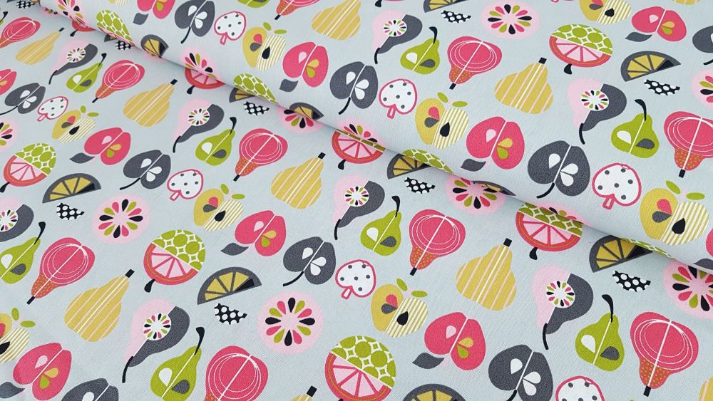 Fruit Festival Apples & Pears on Grey by Poppy Europe 100% Cotton Extra Wid