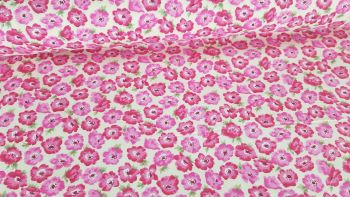 Busy Lizzie Pink Flowers on Cream by Rose & Hubble 100% Cotton