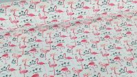 Tropical Pink Flamingoes on White by Rose & Hubble 100% Cotton