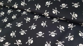 Skull & Crossbones on Black by Rose & Hubble 100% Cotton