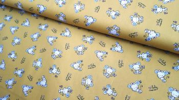 Baby Mouse on Mustard Yellow by Poppy Europe 100% Cotton Extra Wide