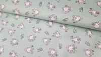 Baby Mouse on Mint Green by Poppy Europe 100% Cotton Extra Wide