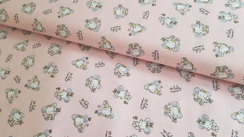 Baby Mouse on Pink by Poppy Europe 100% Cotton Extra Wide