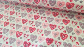 Pink Hearts on White by Rose & Hubble 100% Cotton