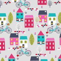 Around Town Houses by Studio E Fabrics 100% Cotton 37 x 110 cm