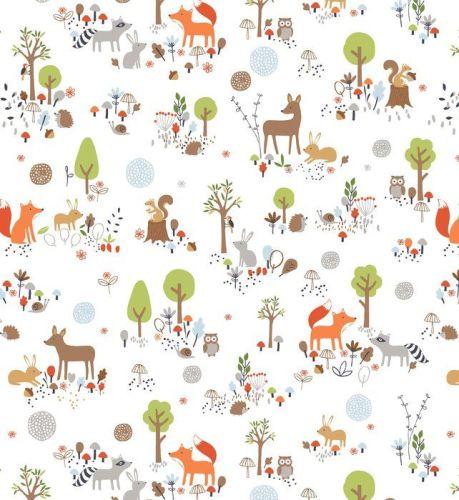 Gentle Forest Main White by Studio E Fabrics 100% Cotton 54 x 109 cm
