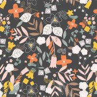 Emi & The Bird Floral Charcoal by Dashwood Studio 100% Cotton