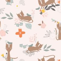 Emi & The Bird Cat & Bird Ecru by Dashwood Studio 100% Cotton