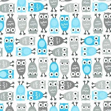 Urban Zoologies Minis Owls Sky by Robert Kaufman Fabrics 100