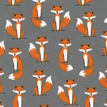 Fabulous Foxes Grey by Robert Kaufman Fabrics 100% Cotton