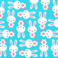 Urban Zoologies Bunnies Aqua by Robert Kaufman Fabrics 100% Cotton