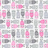 Urban Zoologies Minis Owls Pink by Robert Kaufman Fabrics 100% Cotton