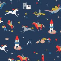A Roaring Good Yarn Knights Castles Navy by Dashwood Studio 100% Cotton