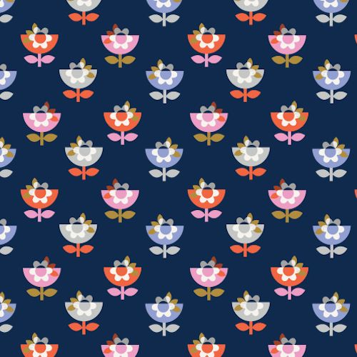 Amelie Flower Pots Navy by Dashwood Studio 100% Cotton