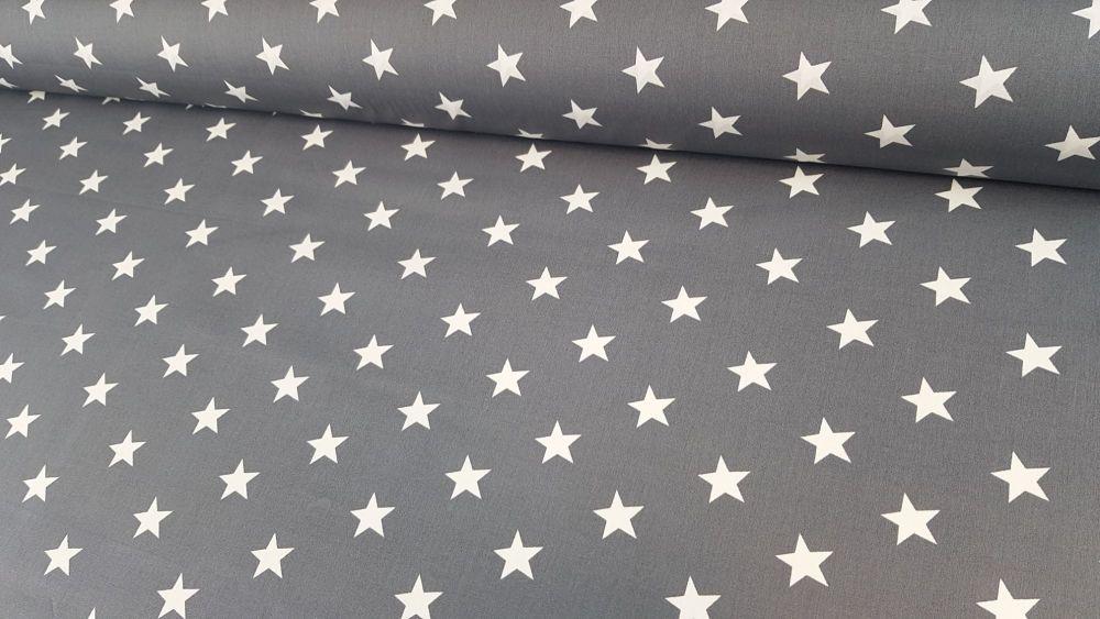 White Stars on Dark Grey by Rose & Hubble 100% Cotton