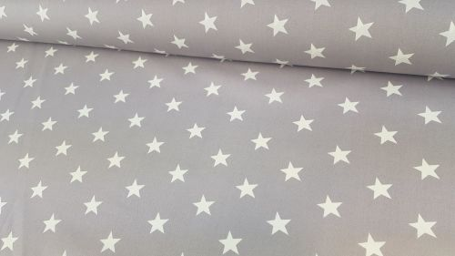 White Stars on Silver Grey by Rose & Hubble 100% Cotton