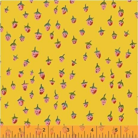 Trixie Strawberries Yellow by Windham Fabrics 100% Cotton