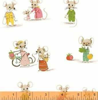 Trixie Mice White by Windham Fabrics 100% Cotton