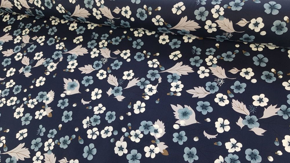 Arabella Floral Navy by Rose & Hubble 100% Cotton