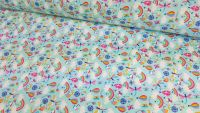 Happy Days Rainbows Hot Air Balloons Mint Blue by Rose & Hubble 100% Cotton