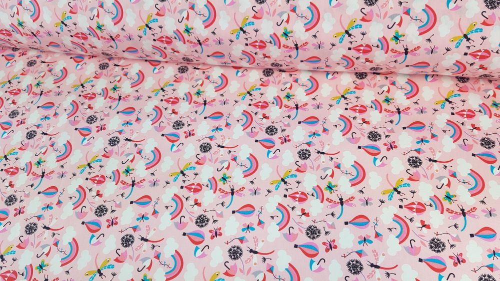 Happy Days Rainbows Hot Air Balloons Candy Pink by Rose & Hubble 100% Cotto