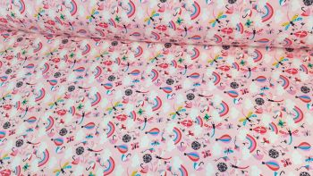 Happy Days Rainbows Hot Air Balloons Candy Pink by Rose & Hubble 100% Cotton