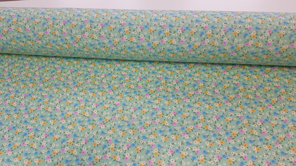 Maisy Ditsy Floral Green by Rose & Hubble 100% Cotton