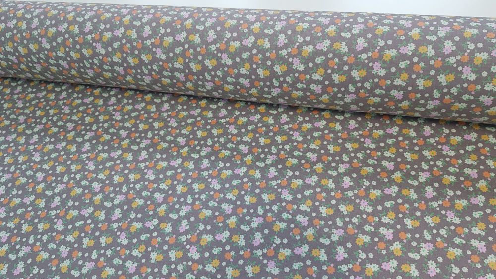 Maisy Ditsy Floral Taupe by Rose & Hubble 100% Cotton