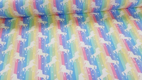 Unicorns on Pastel Rainbow Stripe by Rose & Hubble 100% Cotton