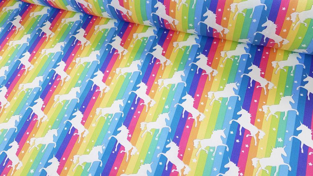 Unicorns on Bright Rainbow Stripe by Rose & Hubble 100% Cotton