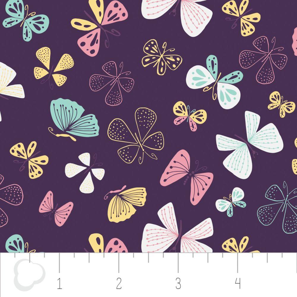 The Kitten's Meow Butterflies in Amethyst by Camelot Fabrics 100% Cotton 32
