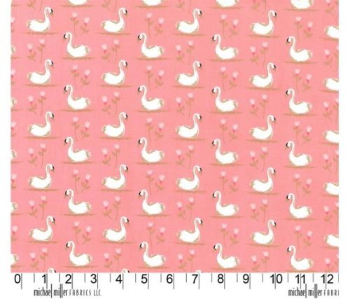 Swans A Swimming Shell Peach Pink by Michael Miller Fabrics 100% Cotton 27