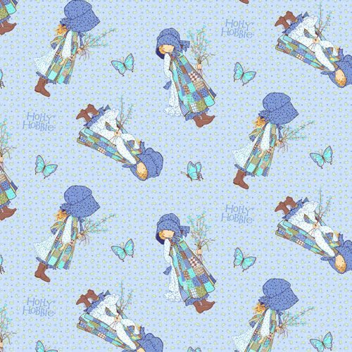 Holly Hobbie Blue Girl on Blue by SPX Fabrics 100% Cotton 51 x 55 cm