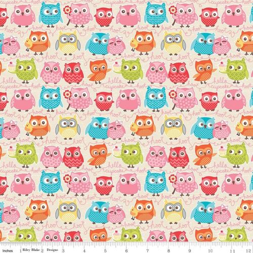 Tree Party Owls Cream by Riley Blake Designs 100% Cotton 51 x 55 cm