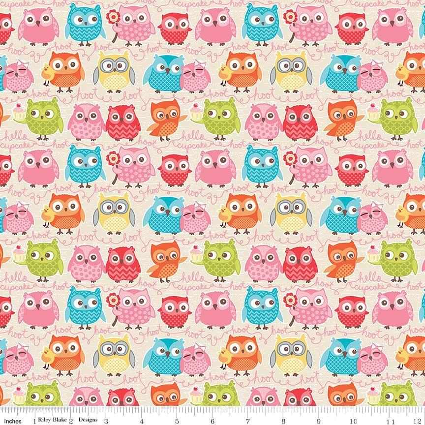 Tree Party Owls Cream by Riley Blake Designs 100% Cotton 51 x 55 cm