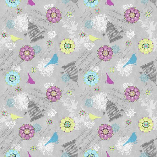 Song Birds Grey by SPX Fabrics 100% Cotton 55 x 110 cm