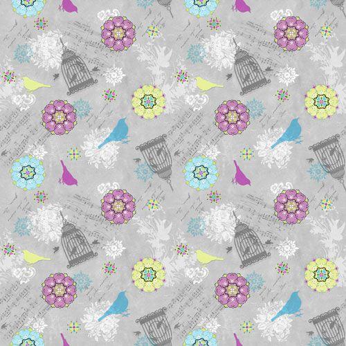 Song Birds Grey by SPX Fabrics 100% Cotton 55 x 110 cm