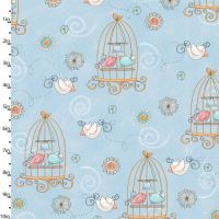 Bird Wise Blue by Studio E Fabrics 100% Cotton 49 x 110 cm
