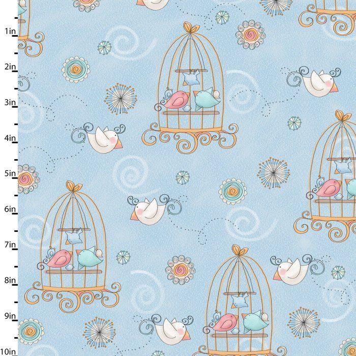 Bird Wise Blue by Studio E Fabrics 100% Cotton 49 x 110 cm