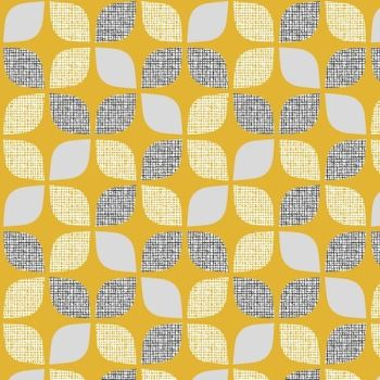 Nesting Birds Leaves Mustard Extra Wide Linen Mix by Dashwood Studio