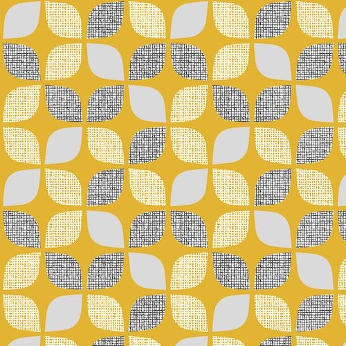 Nest Leaves Mustard Extra Wide Linen Mix by Dashwood Studio