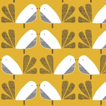 Nesting Birds Mustard Extra Wide Linen Mix by Dashwood Studio