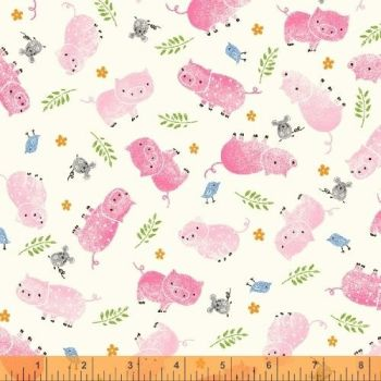 Julia by Whistler Studios Pigs White by Windham Fabrics 100% Cotton