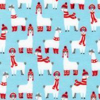 Bundled Buddies Llamas Aqua Flannel by Robert Kaufman Fabrics